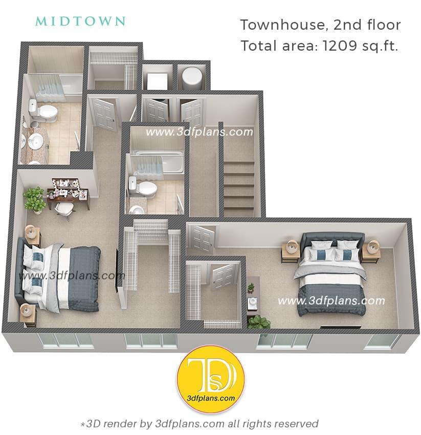 townhouse 2nd floor design, 2nd floor 3d floor plan, 3nd floor 3d design, 2nd floor planning