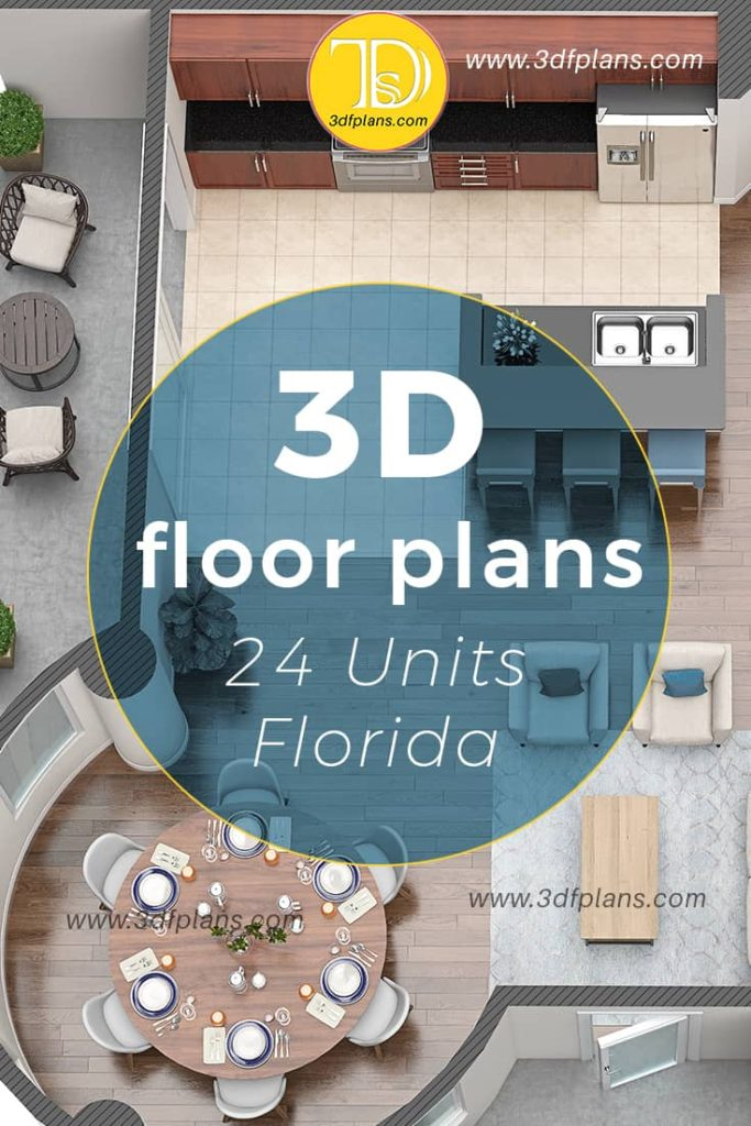 24 3d floor plans for the property based in Florida midtown, real estate marketing, 3dfplans