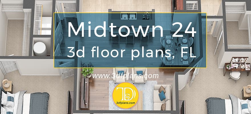 3d floor plans of the property based in Florida midtown, Boca-Raton
