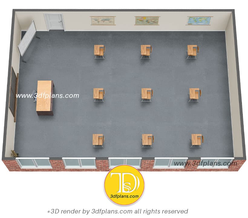 Municipal school classroom 3d floor plan design
