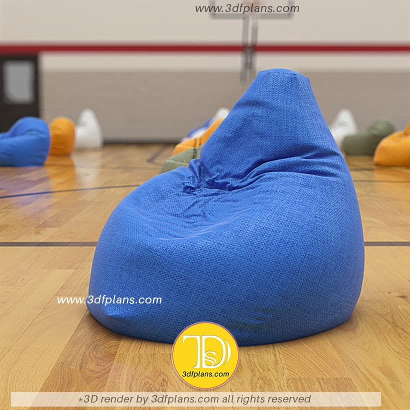 bag chair 3d rendering in the basketball gym, 3d floor plan, 3d floor plans, 3d floorplan