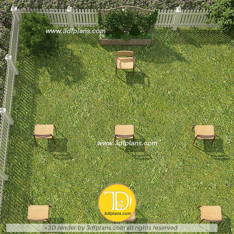 Backyard 3d floor plans with outdoor chairs placed 6' apart for a small classroom