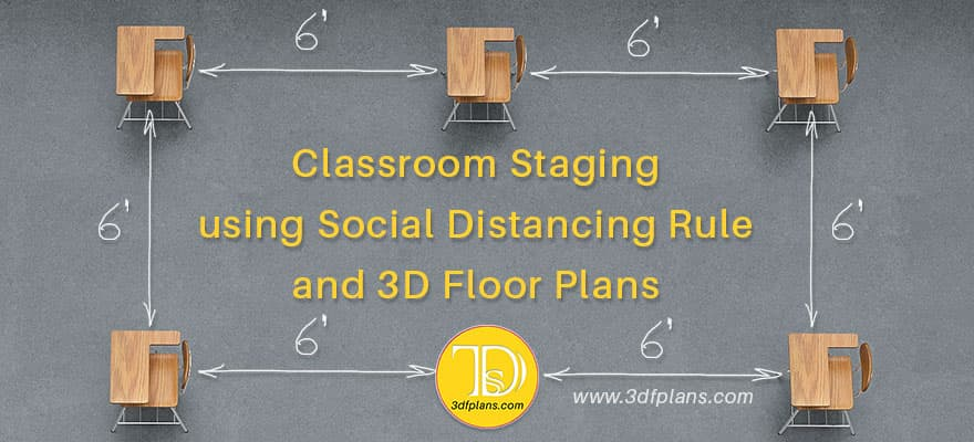 Classroom planning according to the social distancing rule, classroom 3d floor plan,