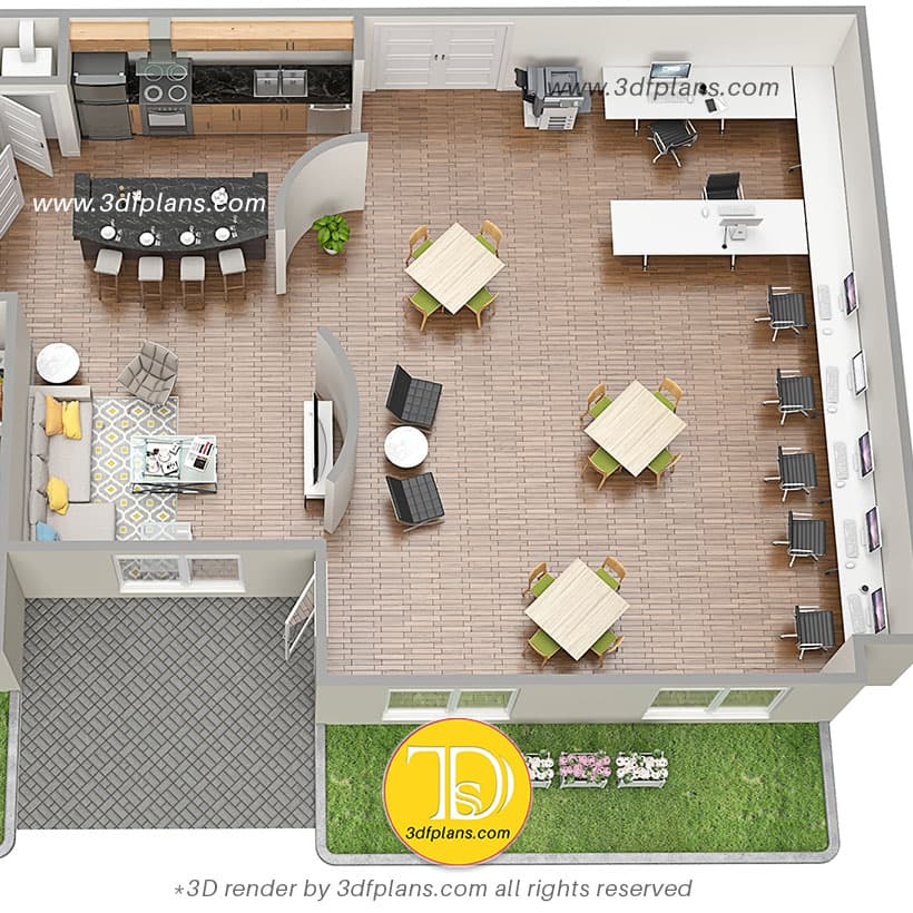 Living room conversion to the classroom and work space, 3d floor plan design, apartment space planning