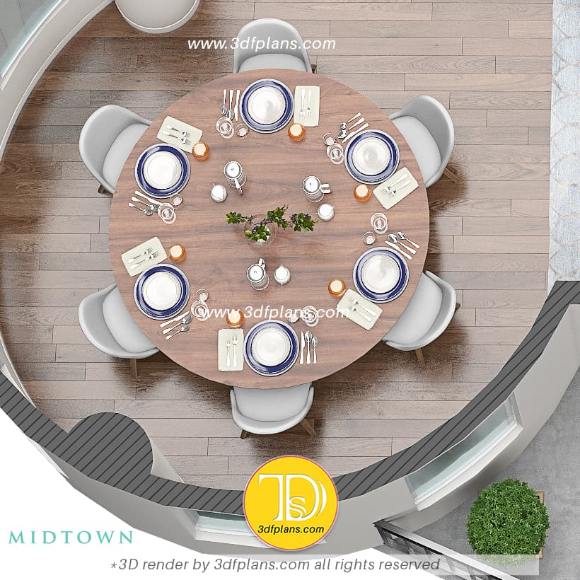 round table for 6 people in the round dining room, dining room 3d design, dining room 3d floor plan