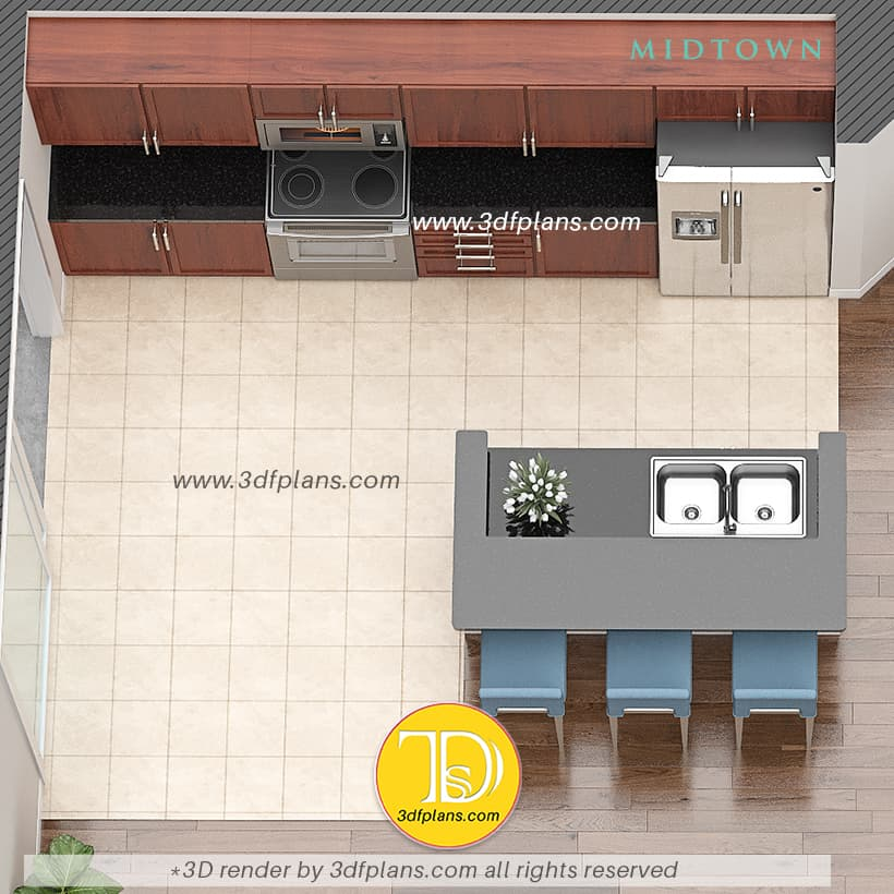 Kitchen 3d floor plan, kitchen 3d design, kitchen island with 3 bar chairs, kitchen renovation 3d design
