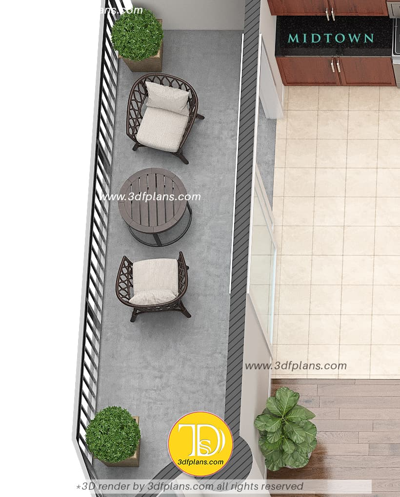 long balcony with 2 chairs and coffee table and 2 plants in florida, balcony modern 3d design, balcony renovation, professional real estate 3d floor plans