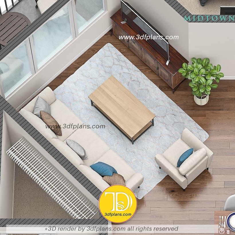 Living room 3d floor plan with plant, livign room interior design in 3d, living room 3d planning, living room 3d illustration
