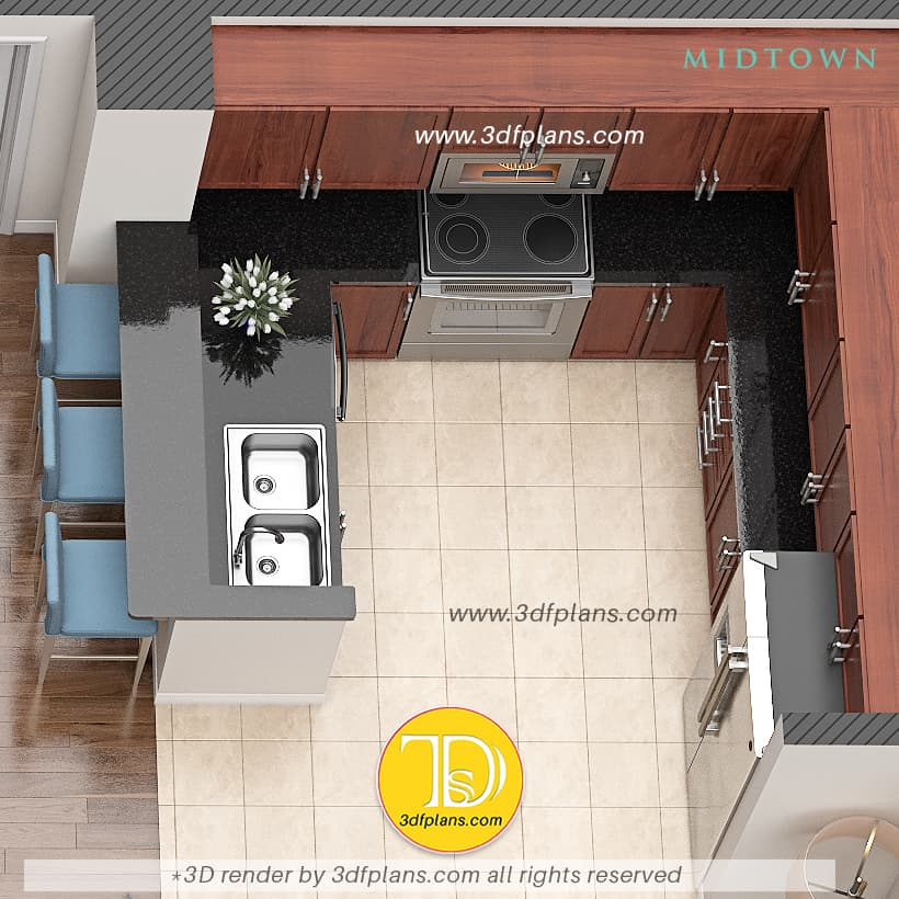 Kitchen 3d design ideas, kitchen 3d visualization with floor tile and black granite counter top and electric stove