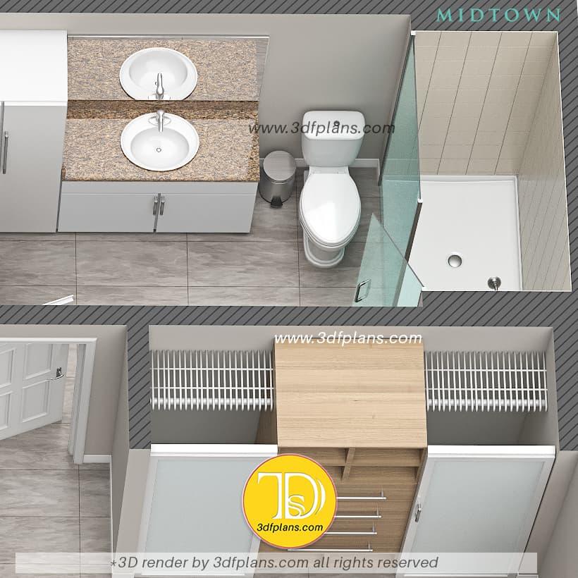 Bathroom 3d floor plan with shower design, apartment bathroom 3d design, bathroom renovation 3d design and renderings