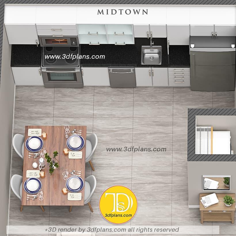 Modern kitchen 3d floor plan, black and white kitchen 3d design, stylish kitchen design, luxury kitchen 3d design