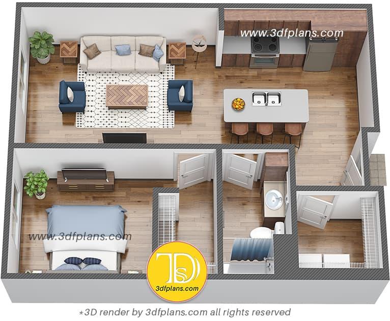One bedroom dorm apartment 3d floor plan for university students, student housing 3d floor plan, North Dakota 3d floor plans