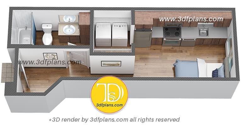3d floor plan of one bedroom dormitory