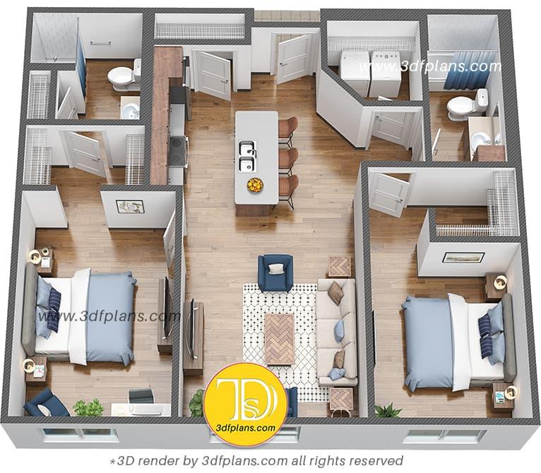 3D floor plan of two bedroom college apartment.