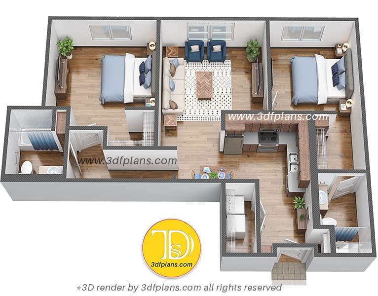 3D floor plan, 3dfplans, dorm room 3d plan, College room 3d plan