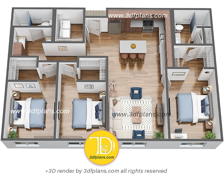 3d floor plan, dorm 3d floor plan, university housing 3d plan