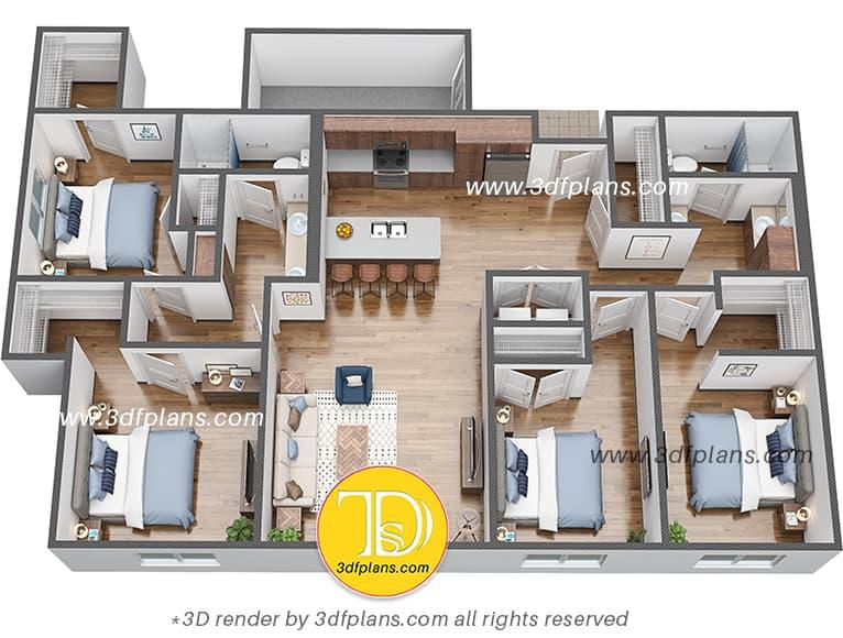 for bedroom 3d floor plan in usa, floor plan rendering, usa dormitory, hostel in us university