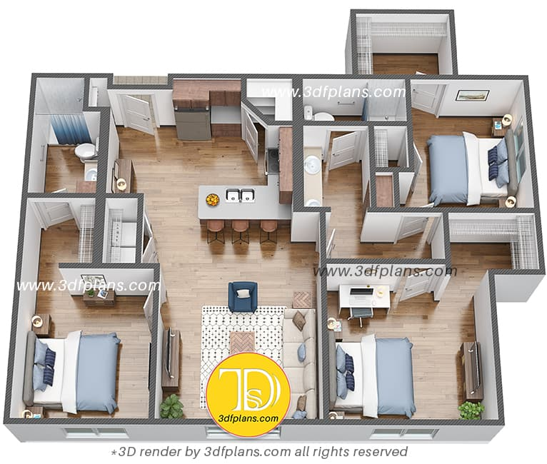 Hostel 3d floor plan in us university Fargo city, North Dakota university 3d floor plan