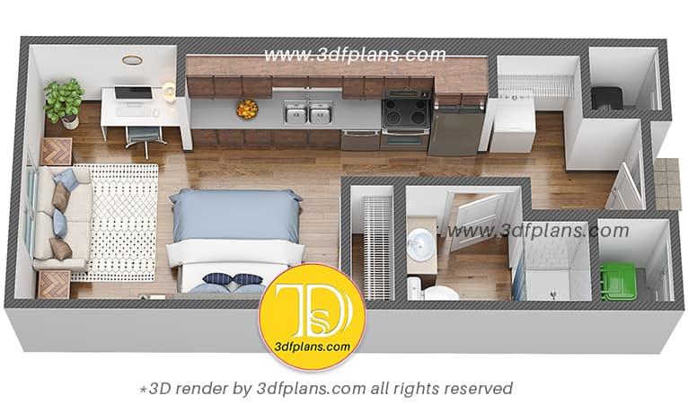 Efficiency dorm room 3d floor plan