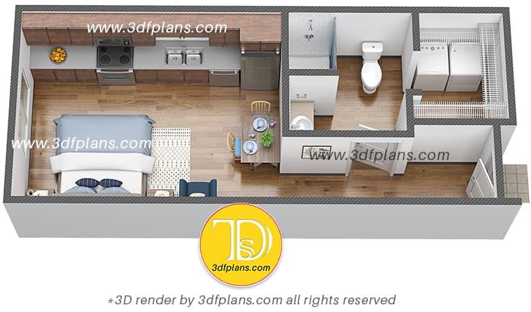 Student housing efficiency apartment 3d floor plan in Fargo North Dakota, 3d floor plan