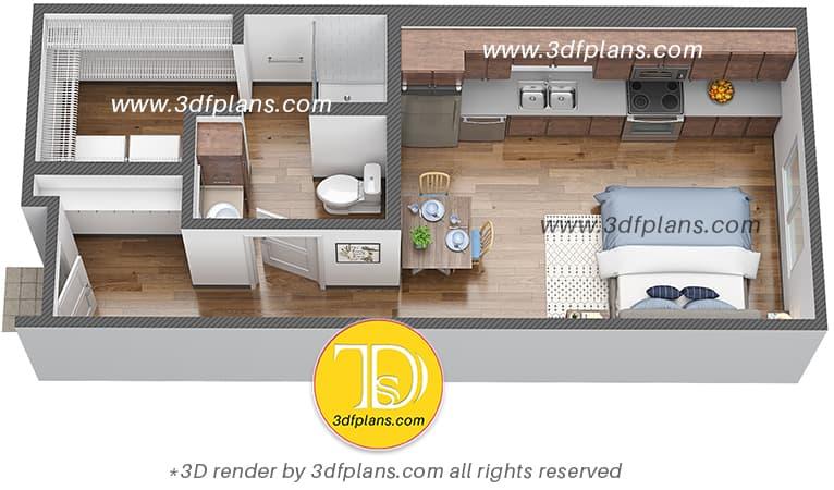 Efficiency student housing 3d floor plan, floor plan rendering service across US