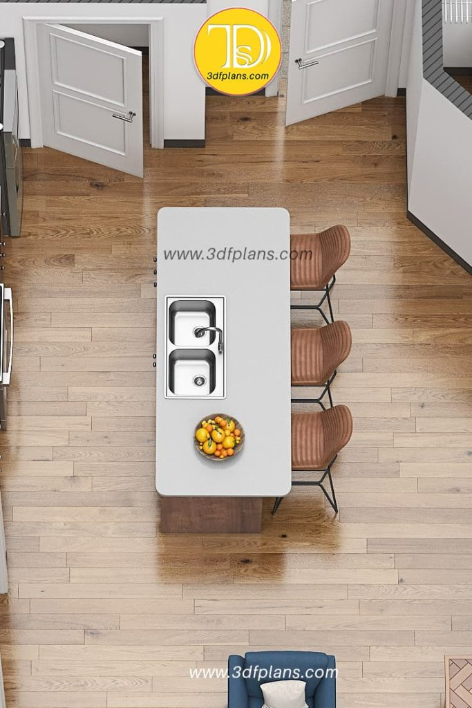 3d floor plan of the kitchen with island and bar chairs