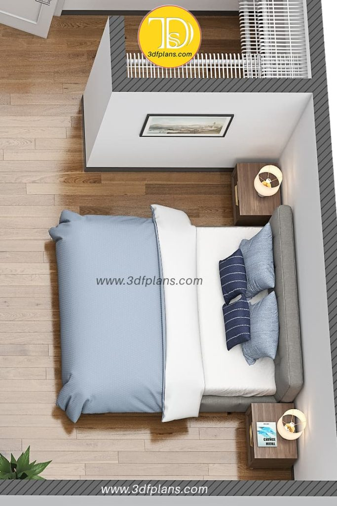 3d floor plan of the bedroom with the king size bed