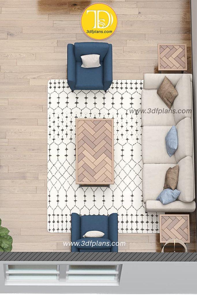 3d floor plan of the living room