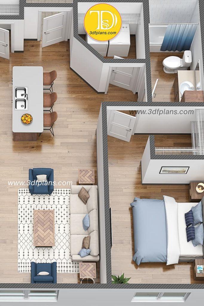 3d floor plan of the hostel in university campus