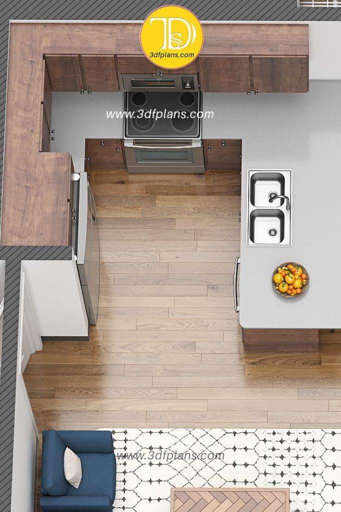 Compact kitchen 3d floor plan rendering