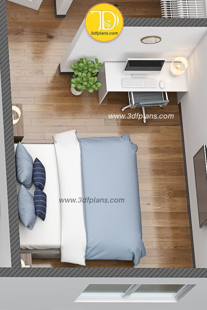 3d floor plan rendering of the bedroom with the small study space