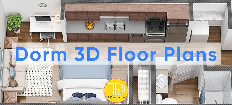 3D floor plan, dormitory 3d floor plan