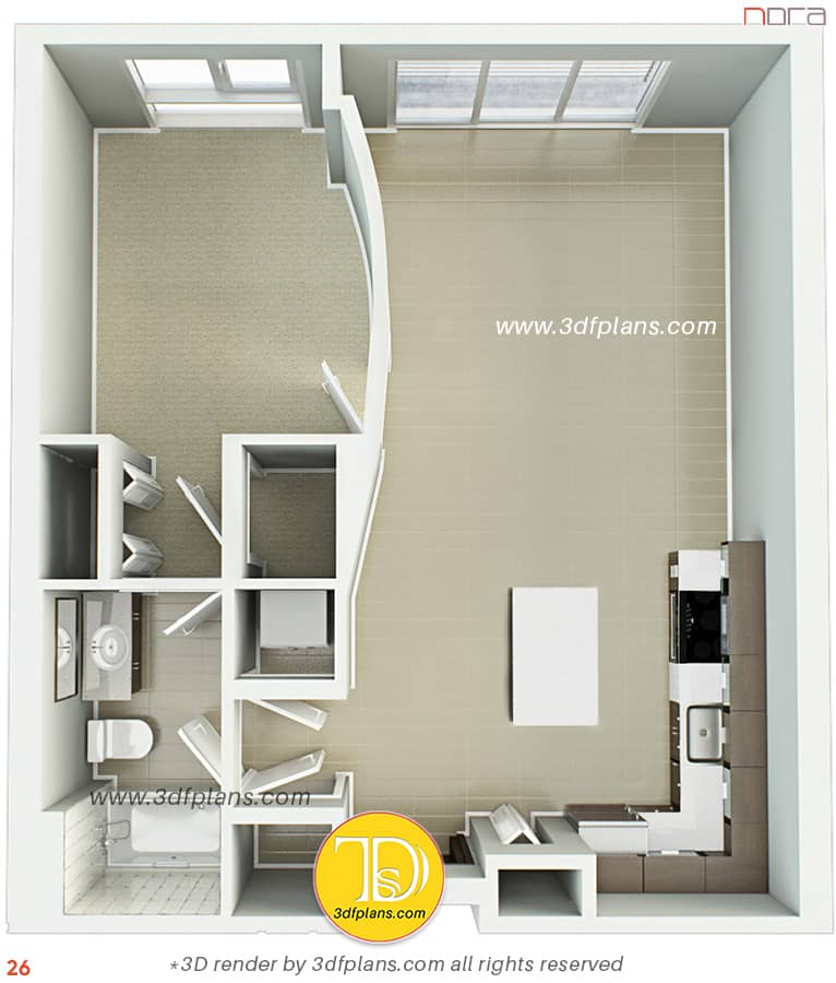 One bedroom apartment 3d floor plan in Orlando