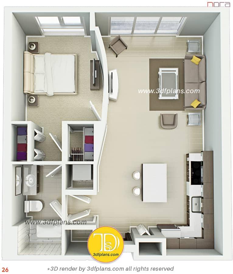 One bedroom 3d floor plan with furniture