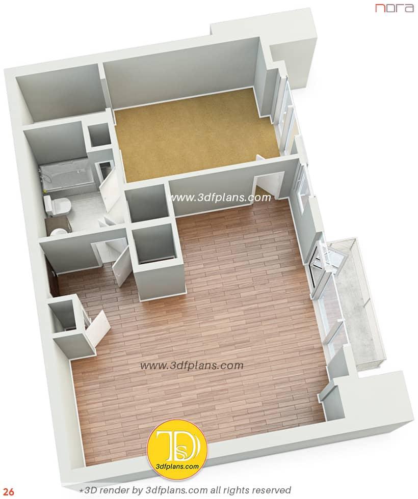 Unfurnished one bedroom 3d floor plan rendering