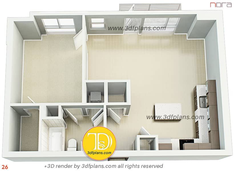 Unfurnished one bedroom 3d floor plan rendering with tile floor and carpet in the bedroom