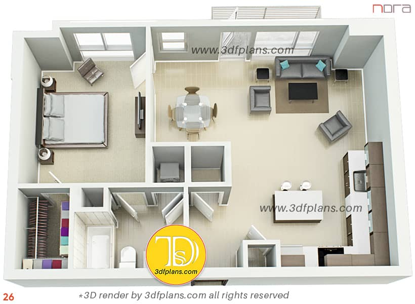 Furnished one bedroom 3d floor plan rendering with tile floor and carpet in the bedroom