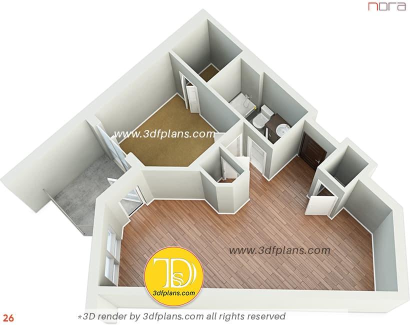 3d floor plan, one bedroom 3d floor plan, unfurnished 3d floor plan, 3d floor plan rendering