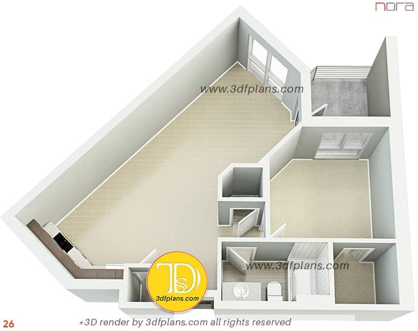 3d floor plan with balcony, one bedroom plan with balcony, floor plan rendering service