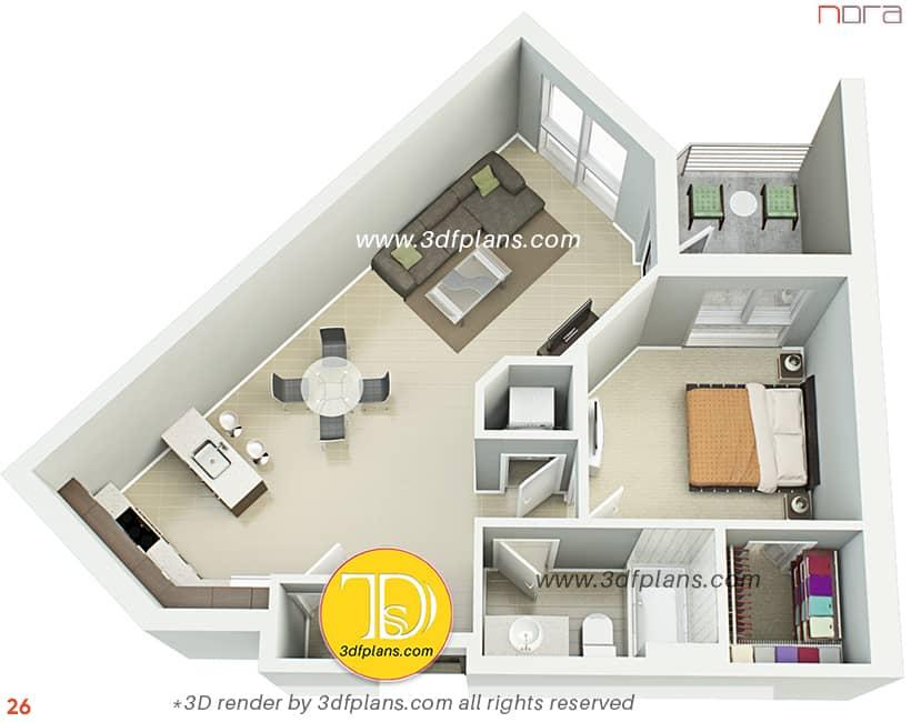 request 3d floor plan, 3d floor plan with furniture of one bedroom apartment