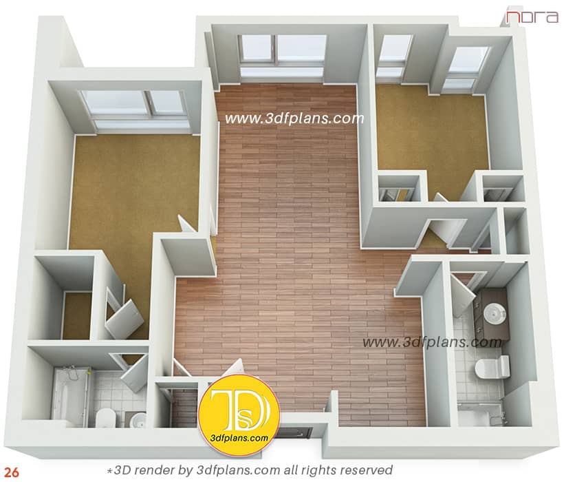 3D floor plan of two bedroom apartment homestyle in Orlando. Home decoration ideas by 3d floorplan
