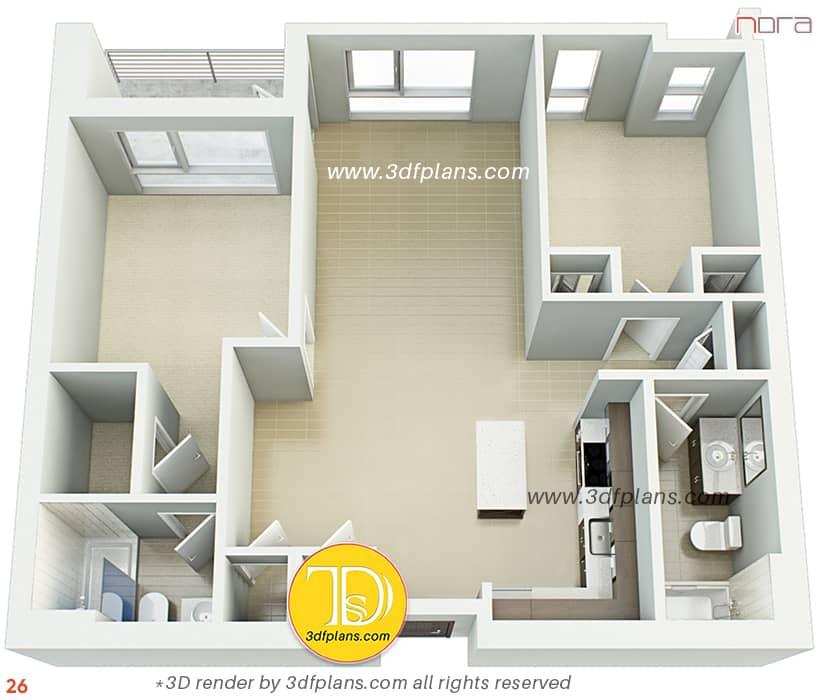 Home design ideas 2021 3d floor plan of the apartment in Orlando