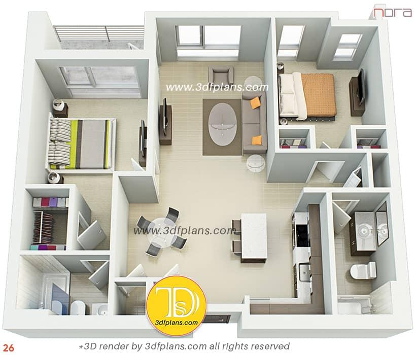 two bedrooms apartment design in Orlando, best 3d floor plan renderings, 3d floor plans 2021