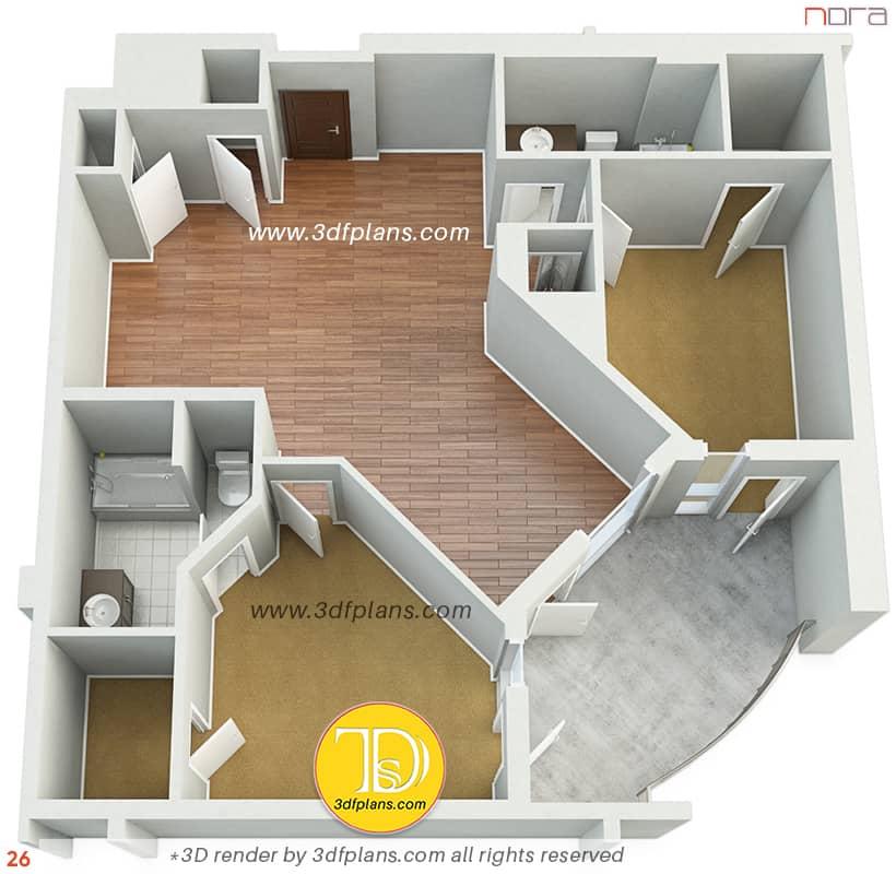 2 bedroom apartment 3D floor plan design, real estate marketing service