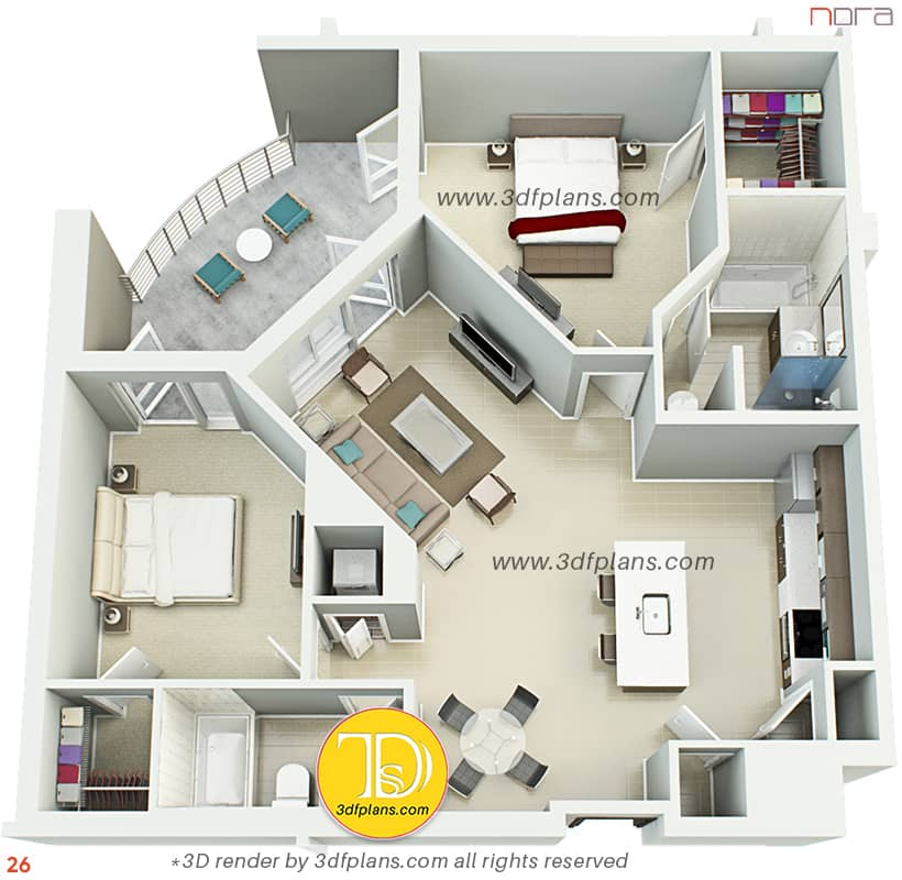 Apartment plan in Orlando, helpful rendering service for real estate professionsls