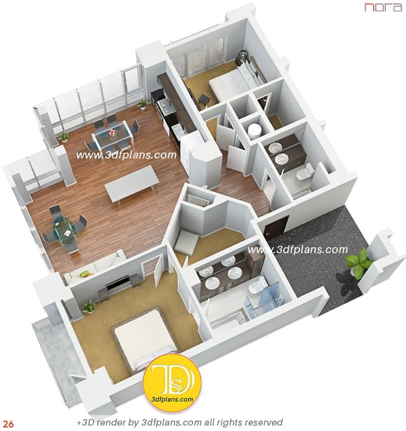 Isometric 3D floor plan 2021