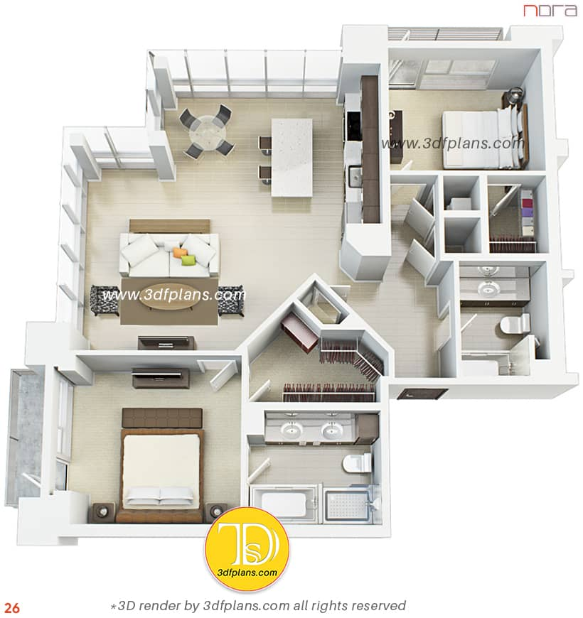 3D floor plan of the apartment with panoramic view in Orlando with two balconies