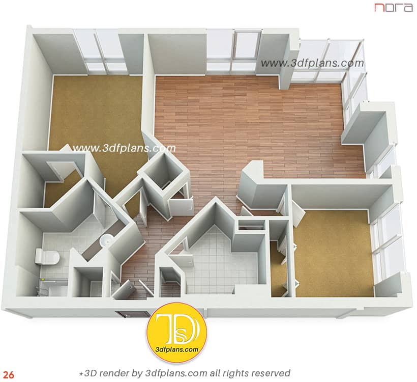 unfurnished floorplan bird view