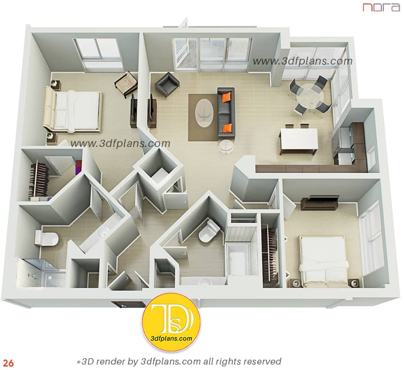 Furnished 3d floorplan with the kitchen-studio and 2 bedrooms, shower and bath.