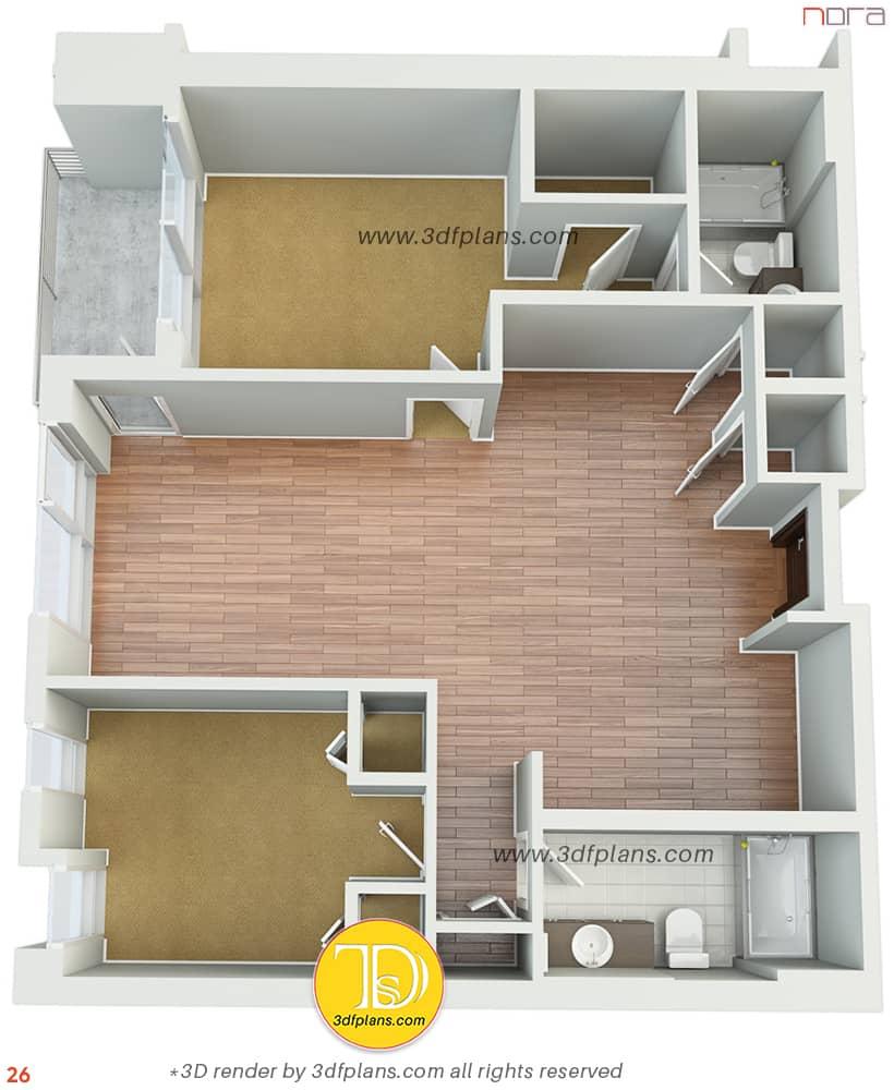 Empty apartment virtual floorplan in Orlando